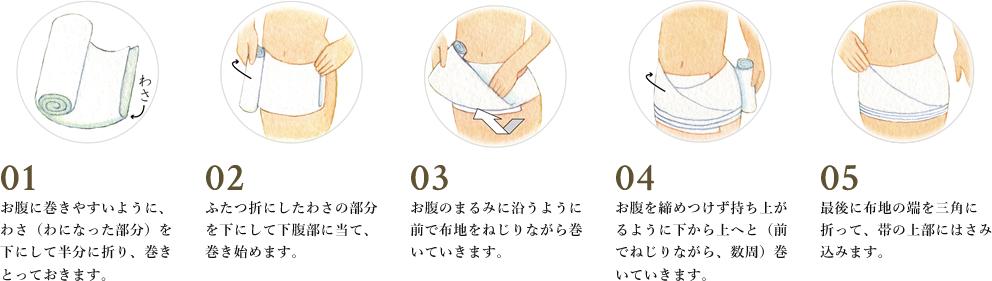 腹巻の巻き方〜伝統的な岩田の帯〜(さらしタイプ)