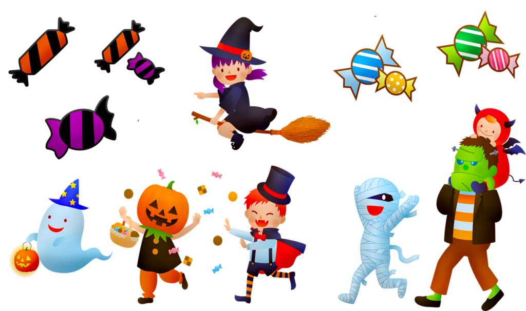 ハロウィン かぼちゃ、飴、お菓子