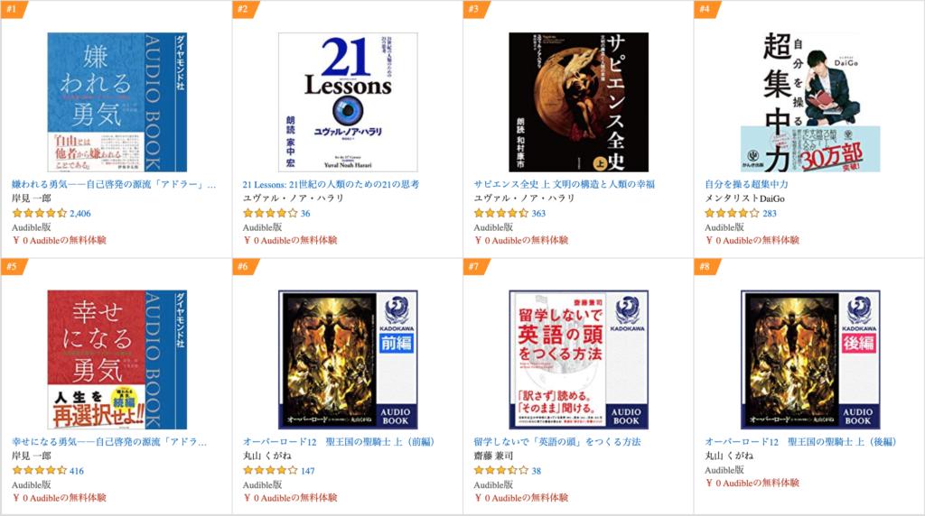 Amazon audible(オーディブル)ランキング1位〜8位