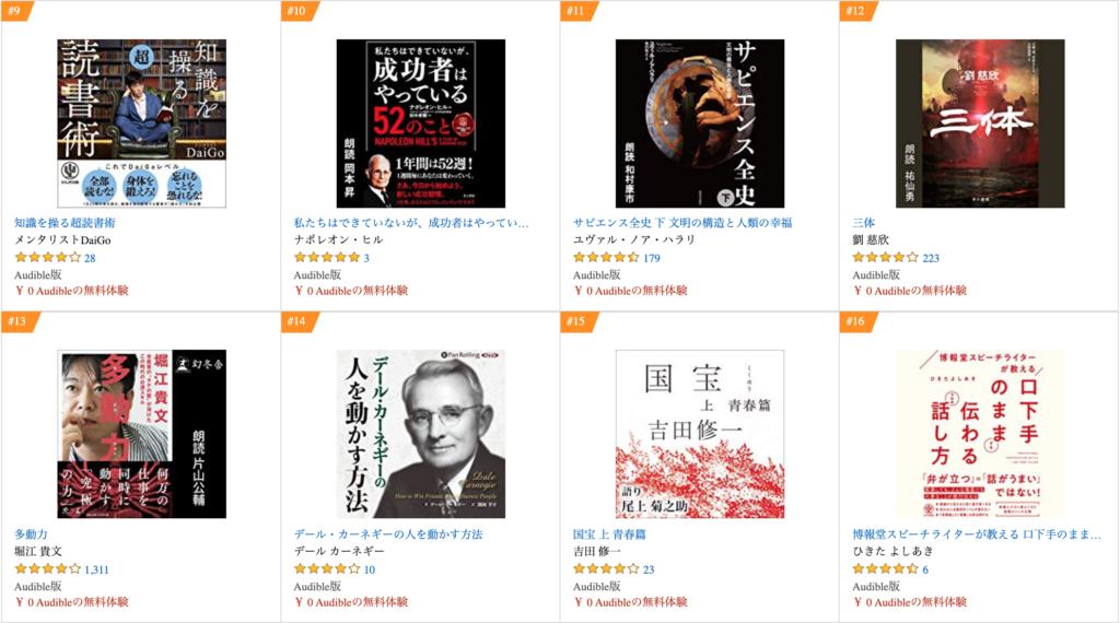 Amazon audible(オーディブル)ランキング9位〜16位