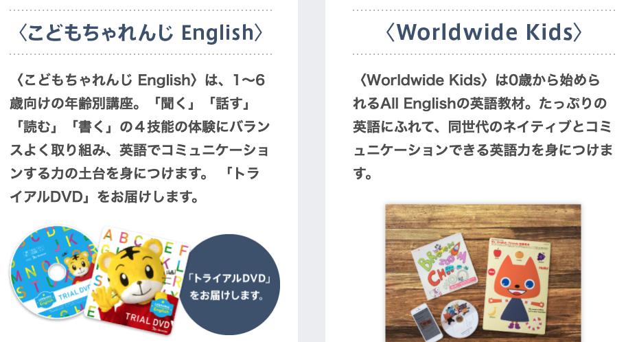 ベネッセ こどもちゃれんじ English:Worldwide Kids:幼児向け通信教育の無料お試しプリント教材