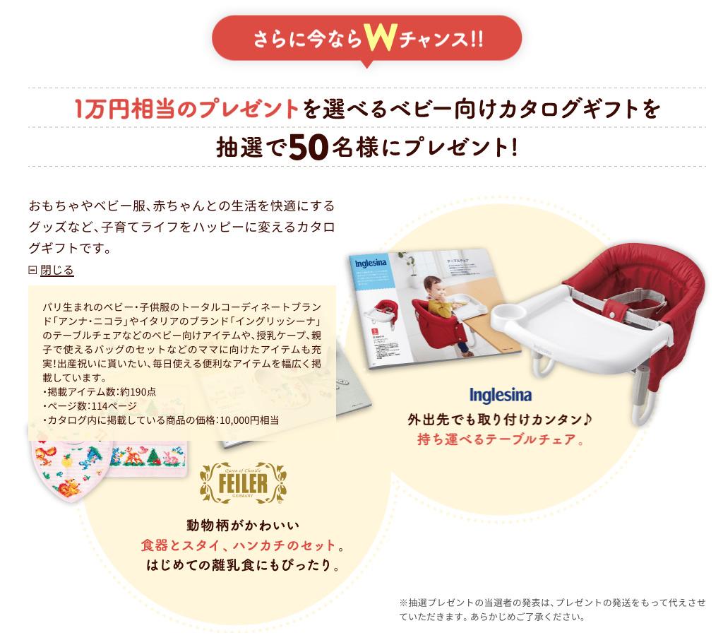ダブルチャンスで1万円相当のプレゼントが選べるベビー向けカタログギフトもらえる:こどもちゃれんじ